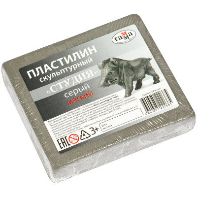 Пластилин Гамма мягкий серый 500 г