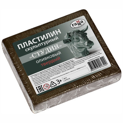 Пластилин Гамма твердый оливковый 500 г