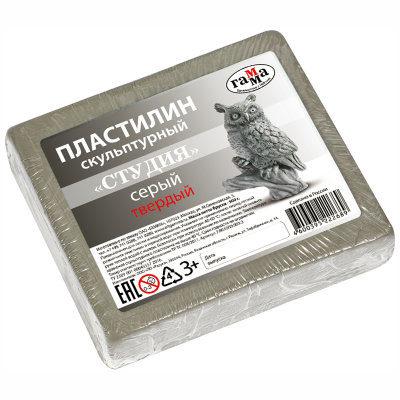 Пластилин Гамма твердый серый 500 г