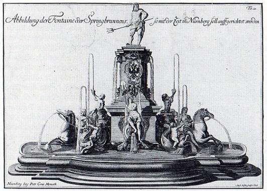 Оригинальная композиция фонтана Нептун, Георг Швайгер, до 1730